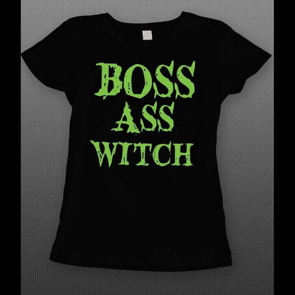 BOSS ASS WITCH FUNNY HALLOWEEN LADIES T-SHIRT - Old Skool Shirts