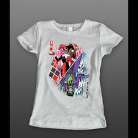 "JOKER AND HARLEY QUINN ""QUEEN OF HEARTS CARD"" LADIES T-SHIRT - Old Skool Shirts"