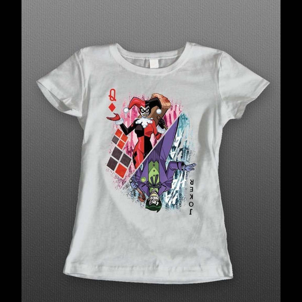 "DC COMICS JOKER AND HARLEY QUINN ""QUEEN OF HEARTS CARD"" LADIES T-SHIRT - Old Skool Shirts"