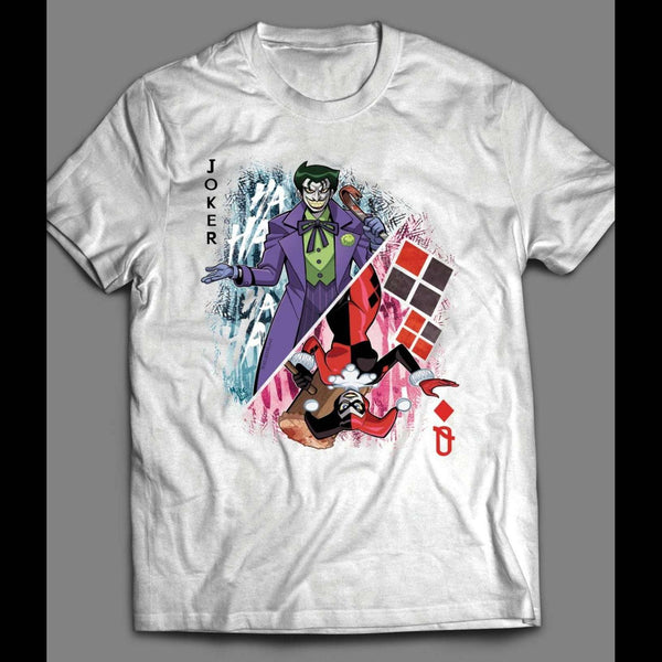 "DC COMICS JOKER AND HARLEY QUINN ""QUEEN OF HEARTS CARD"" T-SHIRT - Old Skool Shirts"