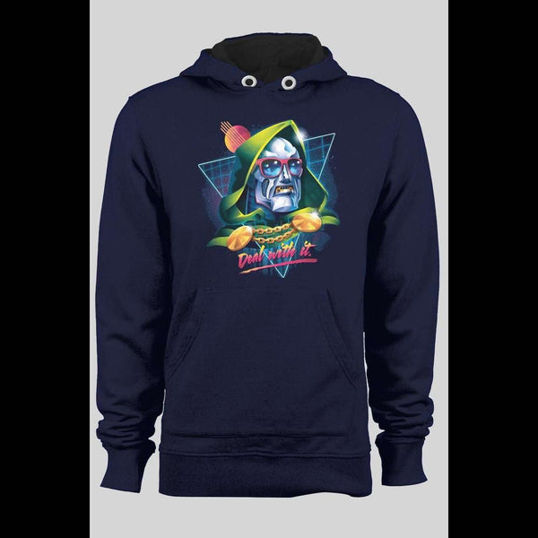 "DR. DOOM ""DEAL WITH IT"" RETRO WINTER HOODIE - Old Skool Shirts"