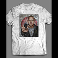 RAPPER EMINEM WITH GUN MOSAIC ART MUSIC SHIRT - Old Skool Shirts