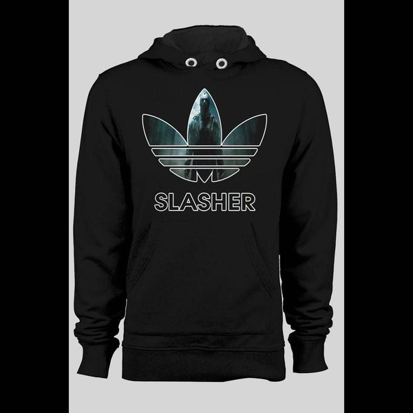 "FRIDAY THE 13TH JASON ""SLASHER"" ATHLETIC WEAR LOGO PARODY PULL OVER WINTER HOODIE - Old Skool Shirts"