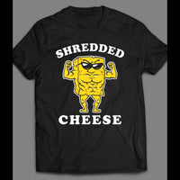 FUNNY SHREDDED CHEESE CARTOON ART WORK OUT GYM T-SHIRT