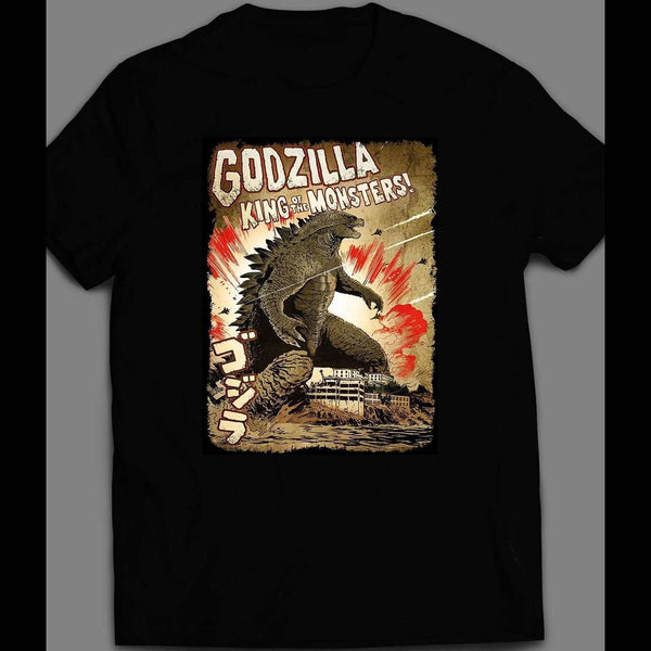 GODZILLA KING OF MONSTERS VINTAGE POSTER ART SHIRT - Old Skool Shirts