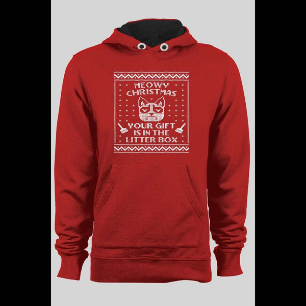 GRUMPY CAT FUNNY MEOWY CHRISTMAS HOLIDAY HOODIE - Old Skool Shirts