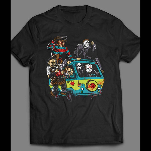 HORROR VILLAINS / SCOOBY DOO MYSTERY MACHINE MASH UP T-SHIRT - Old Skool Shirts