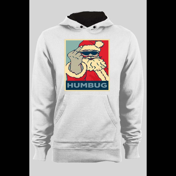 HUMBUG SANTA MIDDLE FINGER WINTER PULL OVER HOODIE - Old Skool Shirts