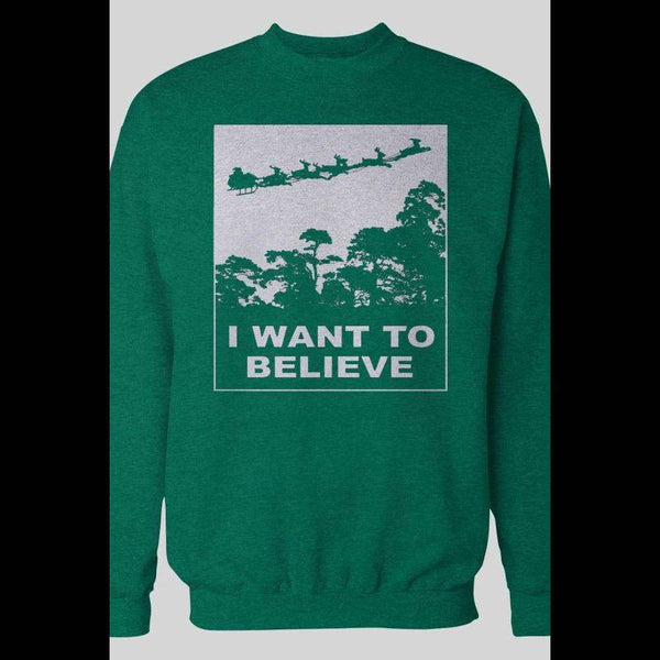 I WANT TO BELIEVE, SANTA HOLIDAY CHRISTMAS SWEATER - Old Skool Shirts