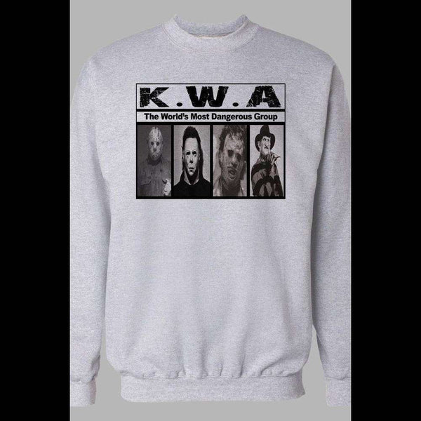 K.W.A. HORROR MOVIE KILLER NWA PARODY WINTER PULL OVER SWEATSHIRT - Old Skool Shirts