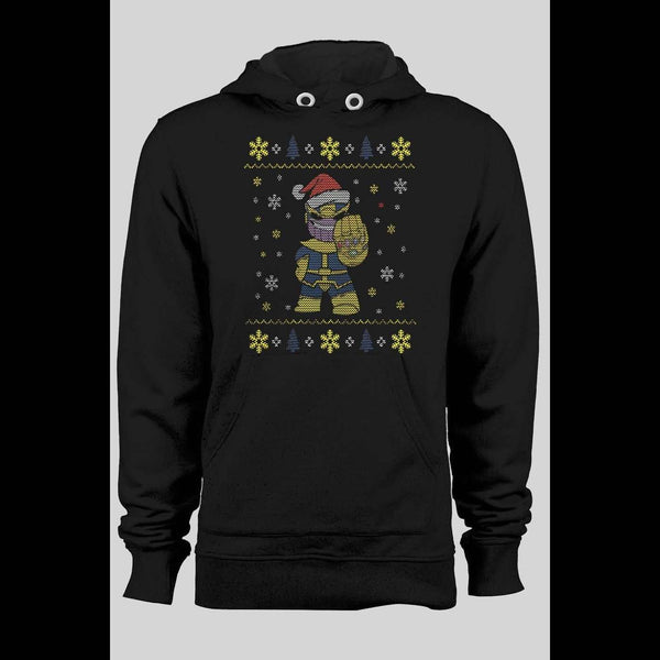 THANOS SANTA PARODY CHRISTMAS UGLY SWEATER HOODIE - Old Skool Shirts