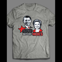 "OBAMA & HILLARY ""BROS BEFORE HOES"" SHIRT - Old Skool Shirts"
