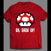 OH GROW UP, LEVEL UP 8-BIT MUSHROOMS SHIRT - Old Skool Shirts