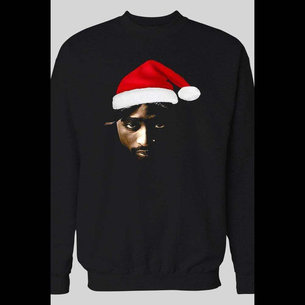 RAPPER 2PAC AS SANTA CHRISTMAS HOLIDAY SWEATER - Old Skool Shirts