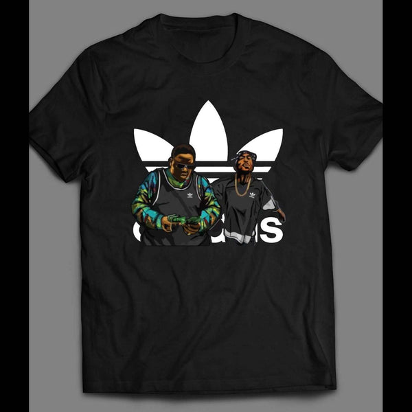 RAPPERS TUPAC AND BIGGIE SMALLS SPORTS WEAR PARODY MASH UP SHIRT - Old Skool Shirts