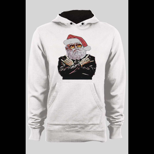 ROCKER SANTA CHRISTMAS PULL OVER HOODIE - Old Skool Shirts