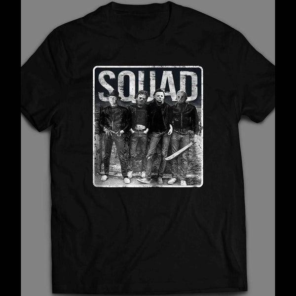 SQUAD HALLOWEEN HORROR MOVIE SERIAL KILLERS MYERS, LEATHERFACE, JASON, & FREDDY SHIRT - Old Skool Shirts
