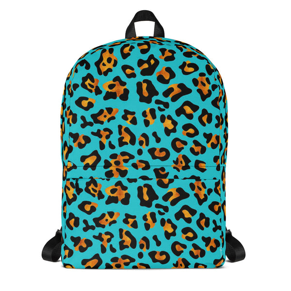 AQUA PRINT LEOPARD SPOTS ALL OVER PRINT BACKPACK