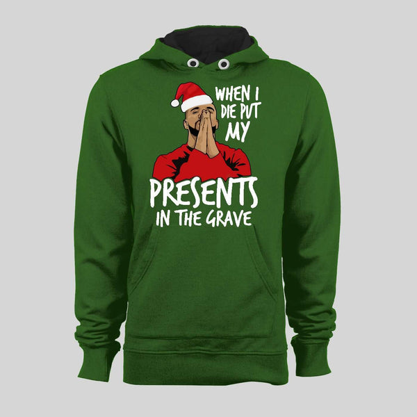 DRAKE PRESENTS TO THE GRAVE PARODY CHRISTMAS HOODIE /SWEATER