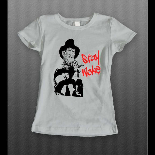 "LADIES STYLE NIGHTMARE ON ELM ST FREDDY KRUEGER ""STAY WOKE"" ART HALLOWEEN T-SHIRT"
