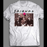 HORROR MOVIE SERIAL KILLERS MYERS, PENNYWISE, FREDDY, JASON, & LEATHERFACE FRIENDS PARODY HALLOWEEN SHIRT - Old Skool Shirts