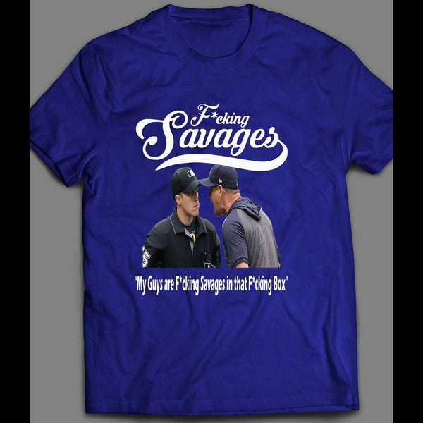 "AARON BOONE ""F*CKING SAVAGES"" BASEBALL T-SHIRT - Old Skool Shirts"