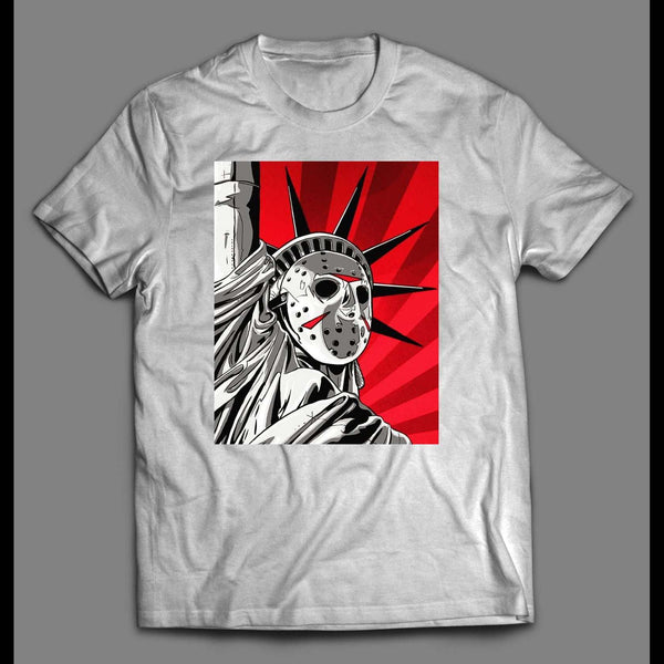 FRIDAY THE 13TH LADY LIBERTY MASH UP SHIRT - Old Skool Shirts