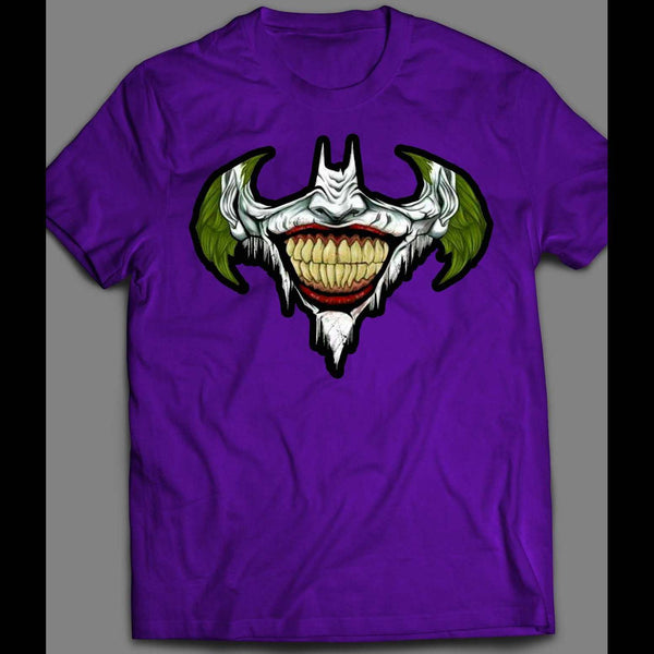 THE JOKER X BATMAN LOGO MASH UP CUSTOM ART SHIRT - Old Skool Shirts
