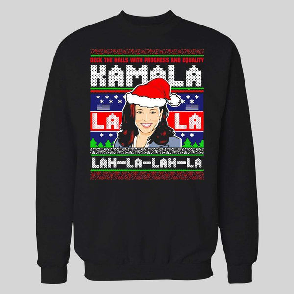 KAMALA LAH-LA-LAH-LA HARRIS CHRISTMAS PATTERN HOLIDAY HOODIE / SWEATSHIRT