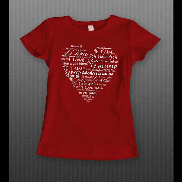 LADIES LANGUAGES OF LOVE VALENTINE'S DAY SHIRT - Old Skool Shirts