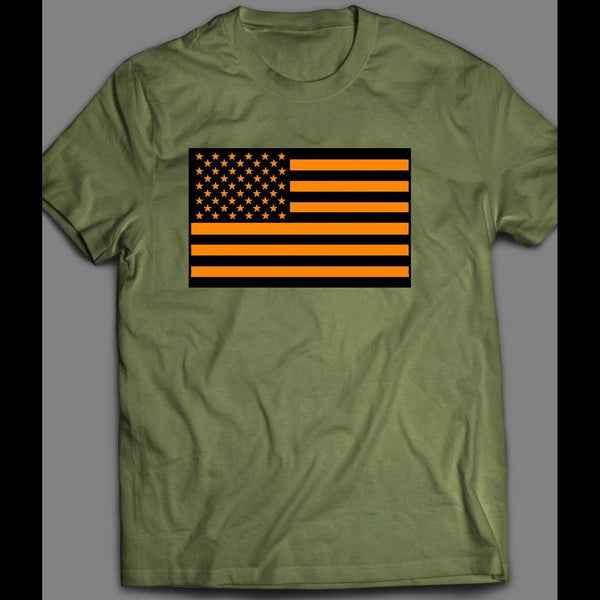 MILITARY STYLE ORANGE AMERICAN FLAG 4TH OF JULY SHIRT - Old Skool Shirts