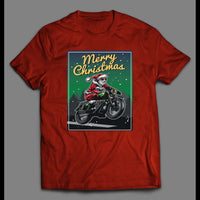 MOTORCYCLE RIDIN' SANTA MERRY CHRISTMAS SHIRT - Old Skool Shirts