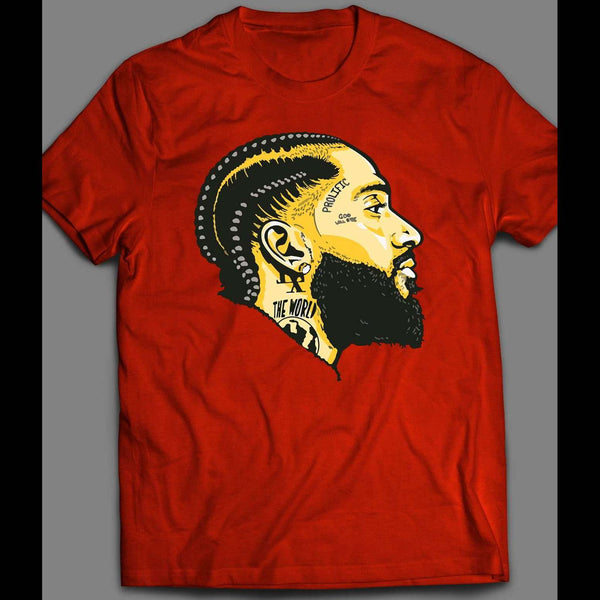 LATE WEST COAST RAPPER NIPSEY CUSTOM OLDSKOOL ART HIP HOP SHIRT