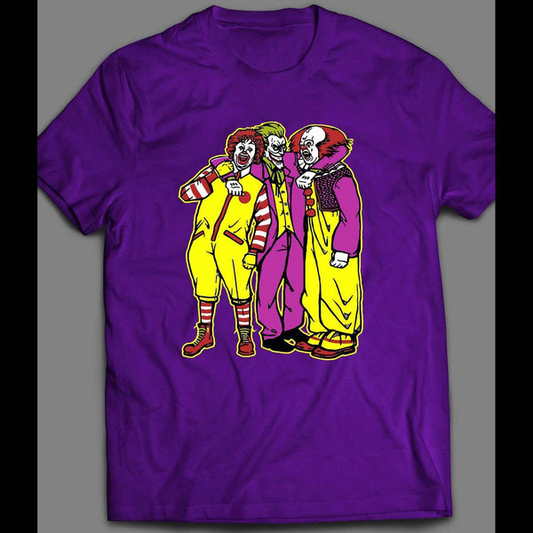 RONALD MCDONALD, JOKER, PENNYWISE KILLER CLOWN TRIO HALLOWEEN T-SHIRT - Old Skool Shirts