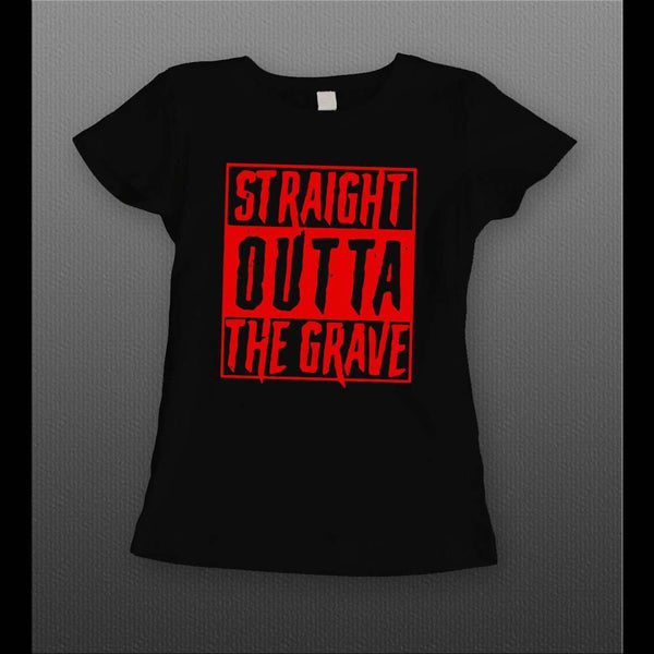 SPOOKY STRAIGHT OUTTA THE GRAVE HALLOWEEN LADIES SHIRT - Old Skool Shirts