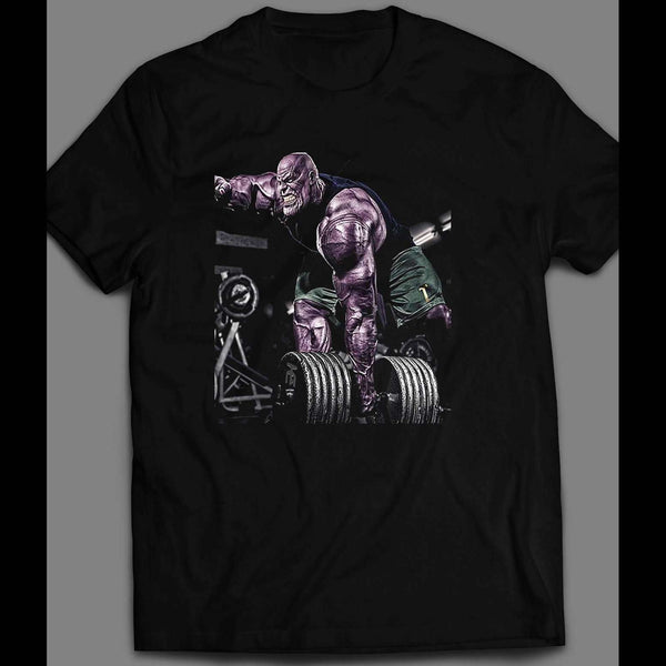 AVENGERS ENDGAME THANOS PUMPING IRON GYM SHIRT - Old Skool Shirts