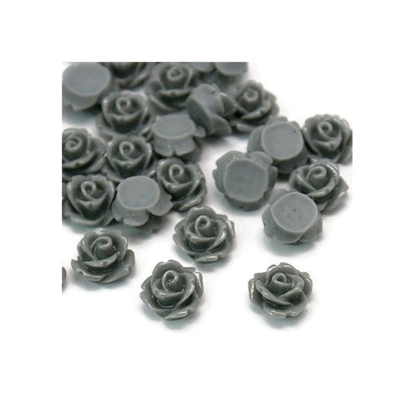 10mm Grey rose cabochons - 10mm gray resin cabochons - 10mm rosebud cabochon - 3D cabochons - 10 pieces (088)