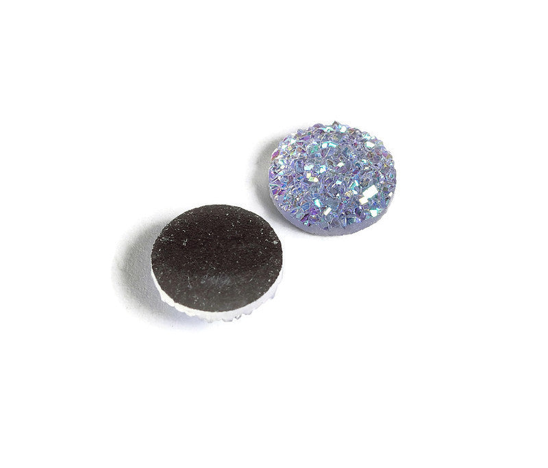 12mm Lilac AB round resin cabochon