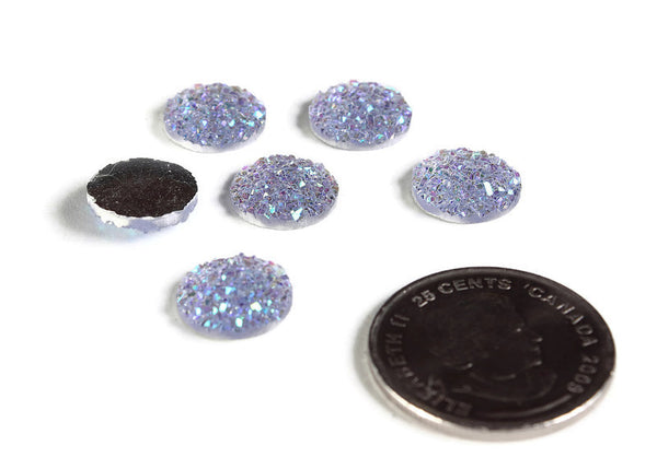 12mm Lilac AB round resin cabochon - 12mm Purple cabochon glitters blue yellow green - Faux druzy cabochon - Faux drusy cabochon - 6 pieces (1955-1)