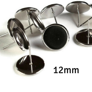 12mm Stainless Steel Earstuds - Blank 12mm Cabochon Setting - Bezel Stud Earrings - 10 pieces (5 pairs) (1968)
