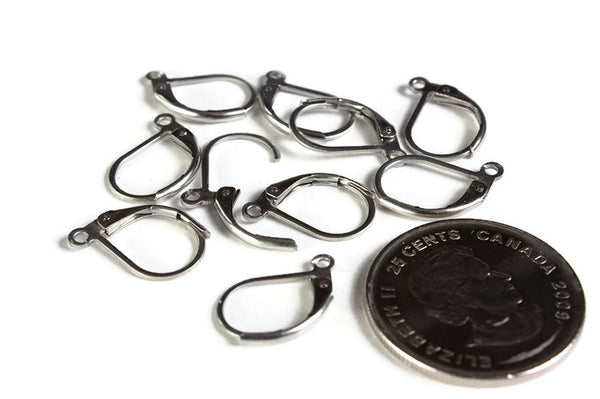 Stainless steel lever back earwire - Stainless steel Lever Back Earrings - Leverback Ear Finding - Earring Wires - 10 pieces (1985)