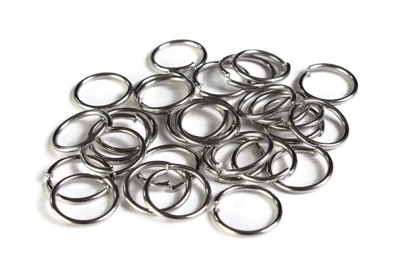 12mm stainless steel jumprings - 12mm open jumpring - 304 Stainless Steel - 12mm round jumprings - 12mm stainless steel jump ring - 30 pieces (1997)