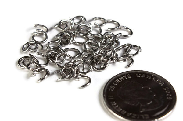 6mm stainless steel jumprings - 6mm open jumpring - 6mm round jumprings - 6mm split jump rings - 50 pieces (2001)