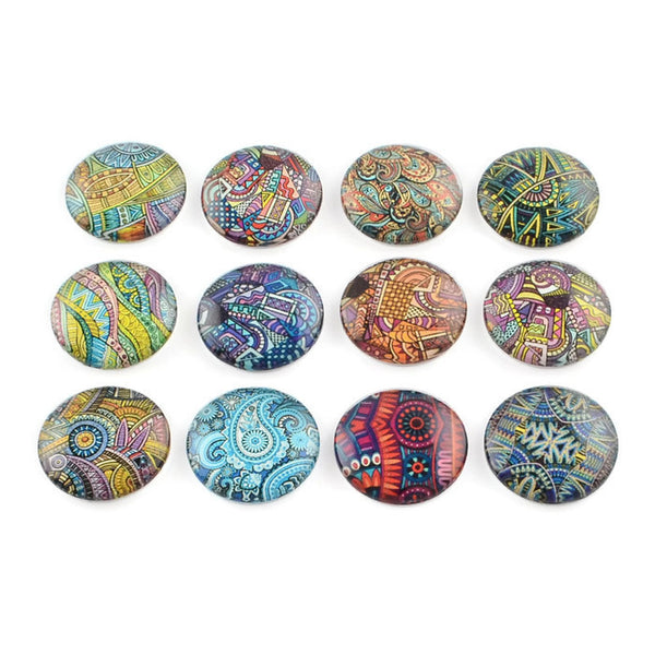 12mm Pattern cabochons - 12mm flat round cabochons - 12mm glass cabochon - 12mm Printed Cabochons - 6 pieces (2040-pairs)