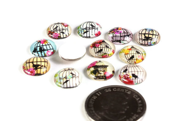 12mm Bird cabochons - 12mm flat round cabochons - 12mm glass cabochon - 12mm Printed Cabochons - 6 pieces (2041-pairs)