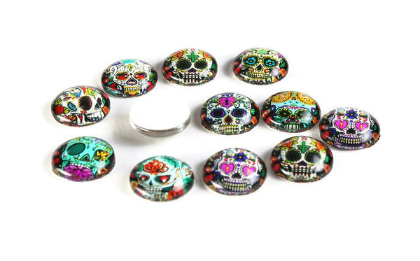 12mm Skull cabochons - 12mm flat round cabochons - 12mm glass cabochon - 12mm Printed Cabochons - 6 pieces (2042-pairs)