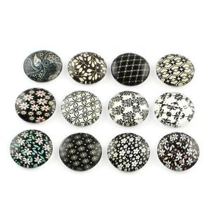 12mm Flower Pattern cabochons - 12mm round cabochons - 12mm glass cabochon - 12mm Printed Cabochons - 6 pieces (2044-pairs)