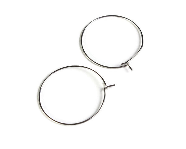 Stainless steel hoop earwire - earring hoops ear wire - 304 Stainless steel - Earring Finding - Stainless Steel Wine Charm Hoops - 28mm x 25mm - 10 pieces (2066)
