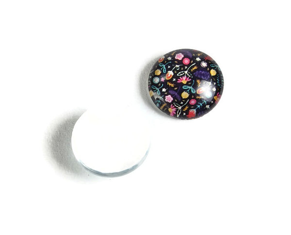 12mm Flower Plants cabochons - 12mm flat round cabochons - 12mm glass cabochon - 12mm Printed Cabochons - 6 pieces (2123-pairs)