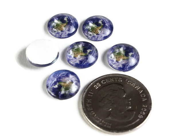 12mm Earth cabochons - 12mm planet cabochon - Blue cabochon - 12mm flat round cabochon - 12mm glass cabochon - 12mm Printed Cabochons - 6 pieces (2124)